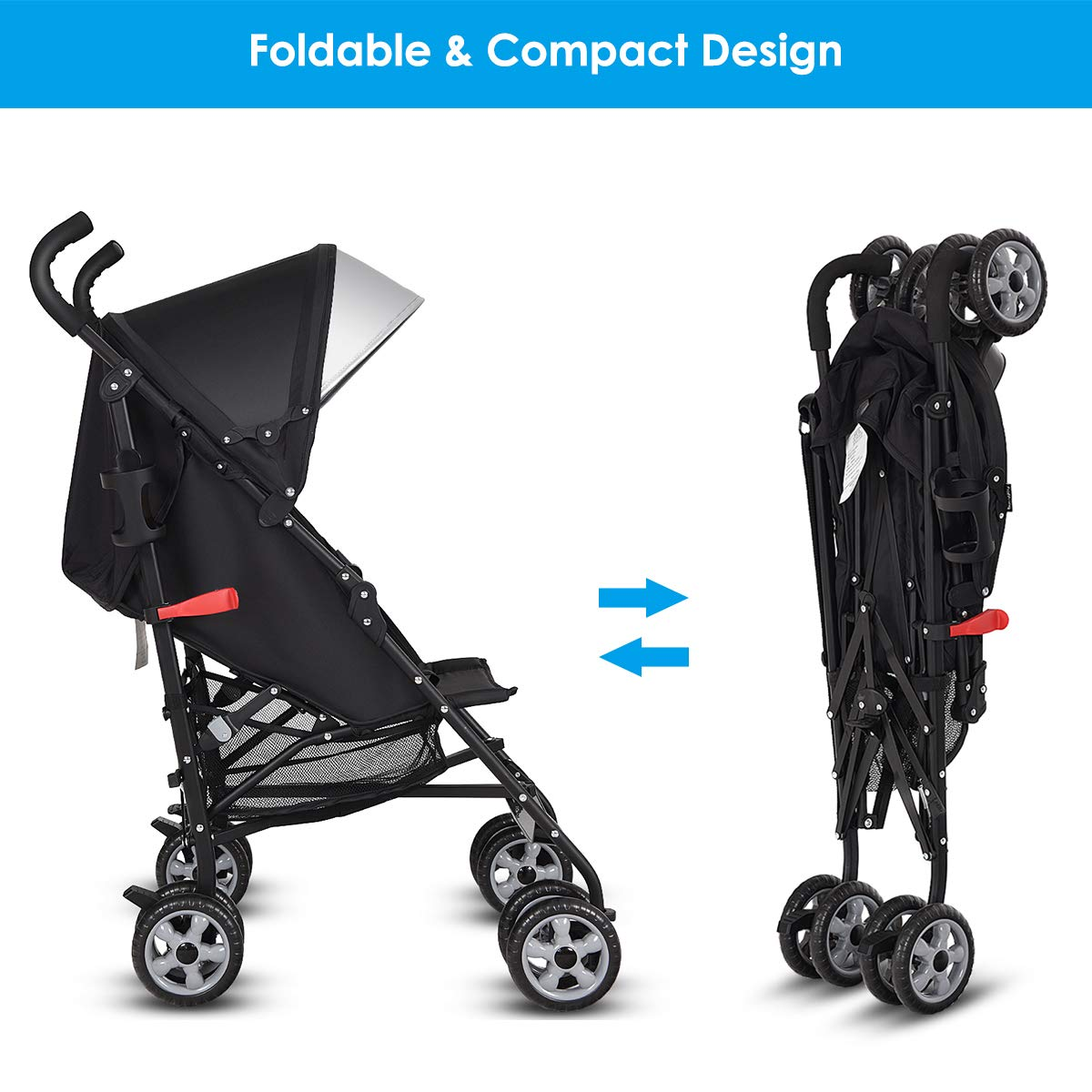 Aluminum Baby Umbrella Convenience Stroller BABY JOY Lightweight Stroller Pink Travel Foldable Design with Oxford Canopy// 5-Point Harness//Cup Holder//Storage Basket