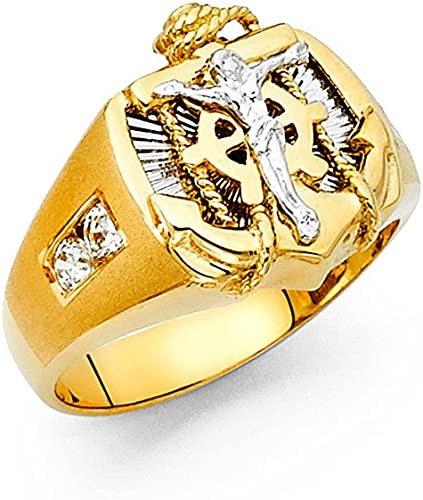 Solid Two-Tone 10k Gold Anchor Diamond Ring
