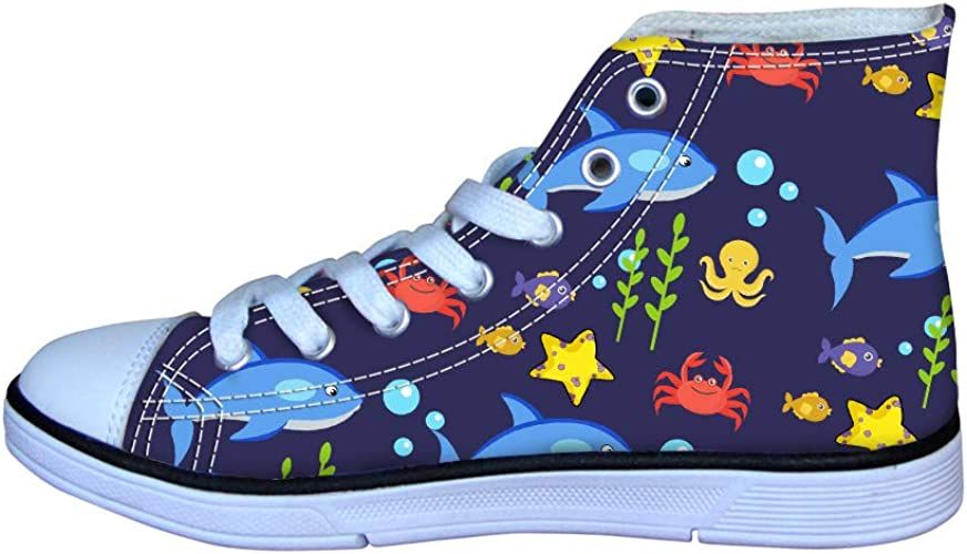 Unisex Cartoon Print Kids Toddlers Flats Lace Up Girls Boys Youth Sneakers Shoes