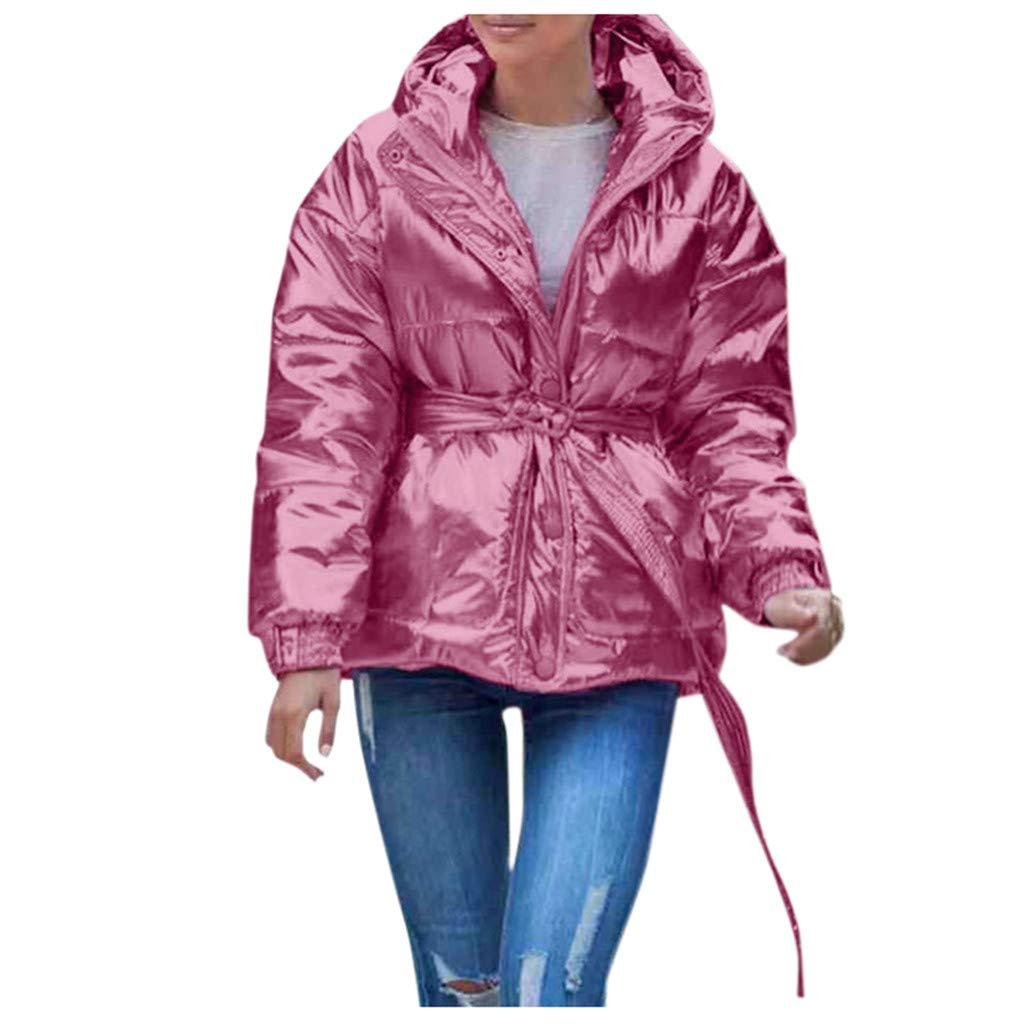 Fashionhe Women Winter Hooded Jacket Warm Thick Outerwear Coat Slim Cotton-Padded Hooded Overcoat(Pink.XL) by Fashionhe