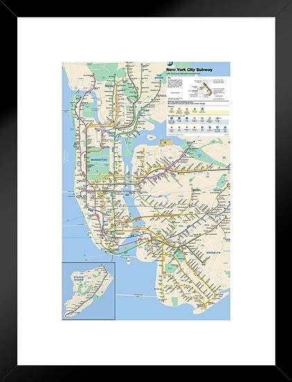Subway Map New York For Print.Amazon Com Pyramid America New York City Subway Map Matted Framed
