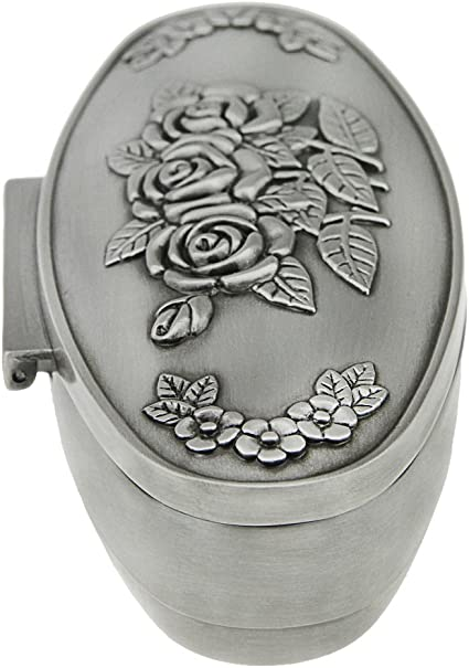 Vintage Antique Oval Shape Rose Flower Engraving Metal Trinket Ring Earrings Necklace Silver Jewelry Collection Box Storage Case Wedding Christmas Valentines Gift