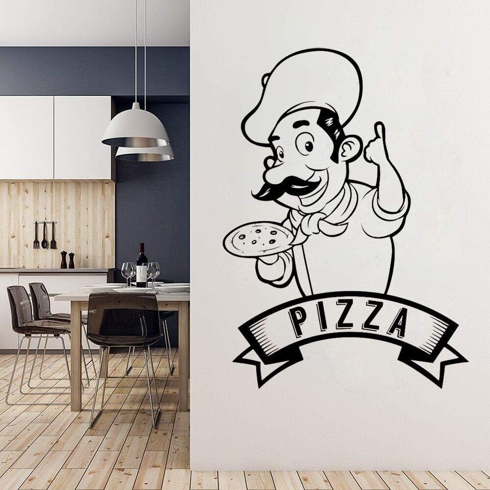 Pizzeria Logo Vinilo Adhesivo de Pared | Cocina y comedor Etiqueta de la pared Vinilo Decoración del hogar