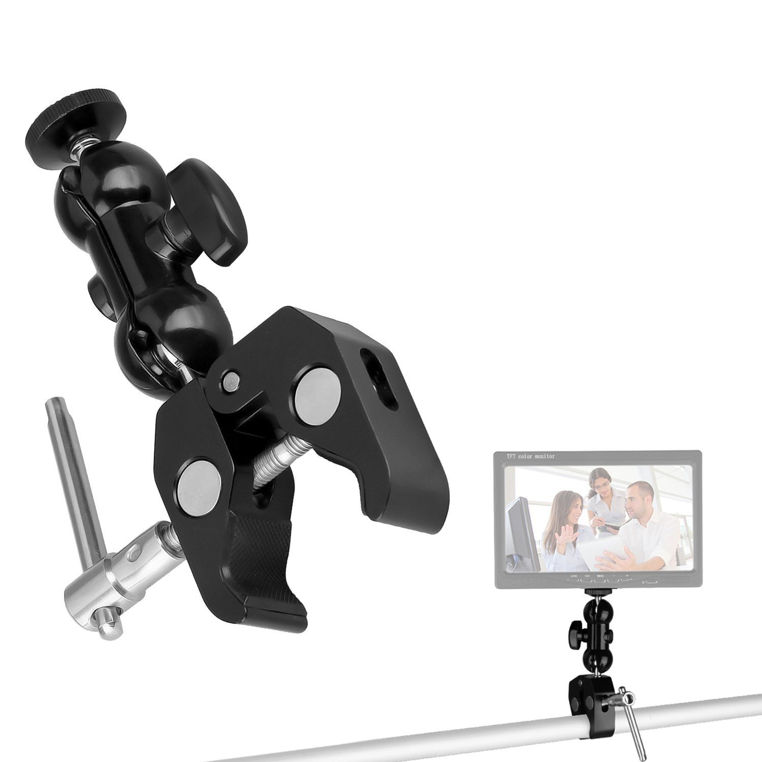 WAAO Magic Arm Cool Ballhead Arm Super Clamp Mount Multi-function Double Ball Adapter with Bottom Clamp for DSLR Camera Rig, LED Lights, Flash Lights, LCD Monitor