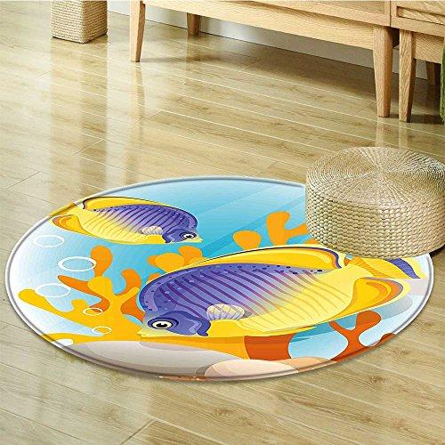 """Non Slip Round Rugs Design Wild Tiny Aquarium Art Aqua Blue Oriental Floor and Carpets-Round 47"""""""