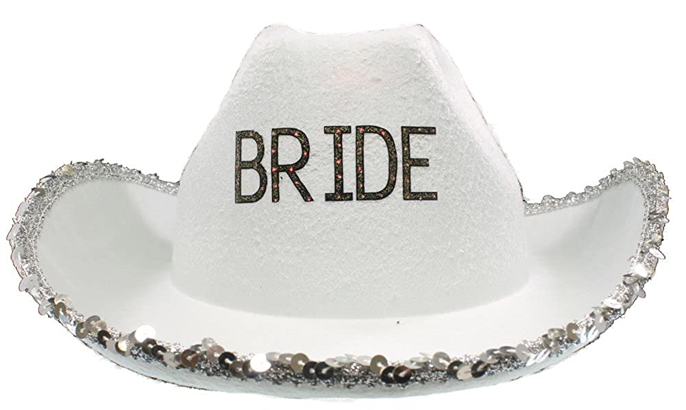 87030b151 RedSkyTrader Womens Bachelorette Cowboy Hat One Size Fits Most White, Silver