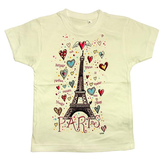 702fb0e1e Souvenirs of France - Paris 'Eiffel Tower Hearts' Girls T-Shirt - White