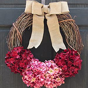 Rustic Hydrangea Grapevine Spring Summer Valentines Day Wreath for Front Door Decor; Burgundy Red and Rose Pink 1