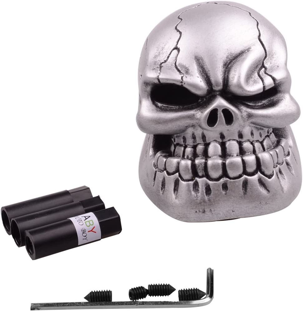Silver AutoBoy ABy Skull Head Gear Stick Shift Shifter Knob Lever Cover Universal Fit Most Manual transmission vehicles