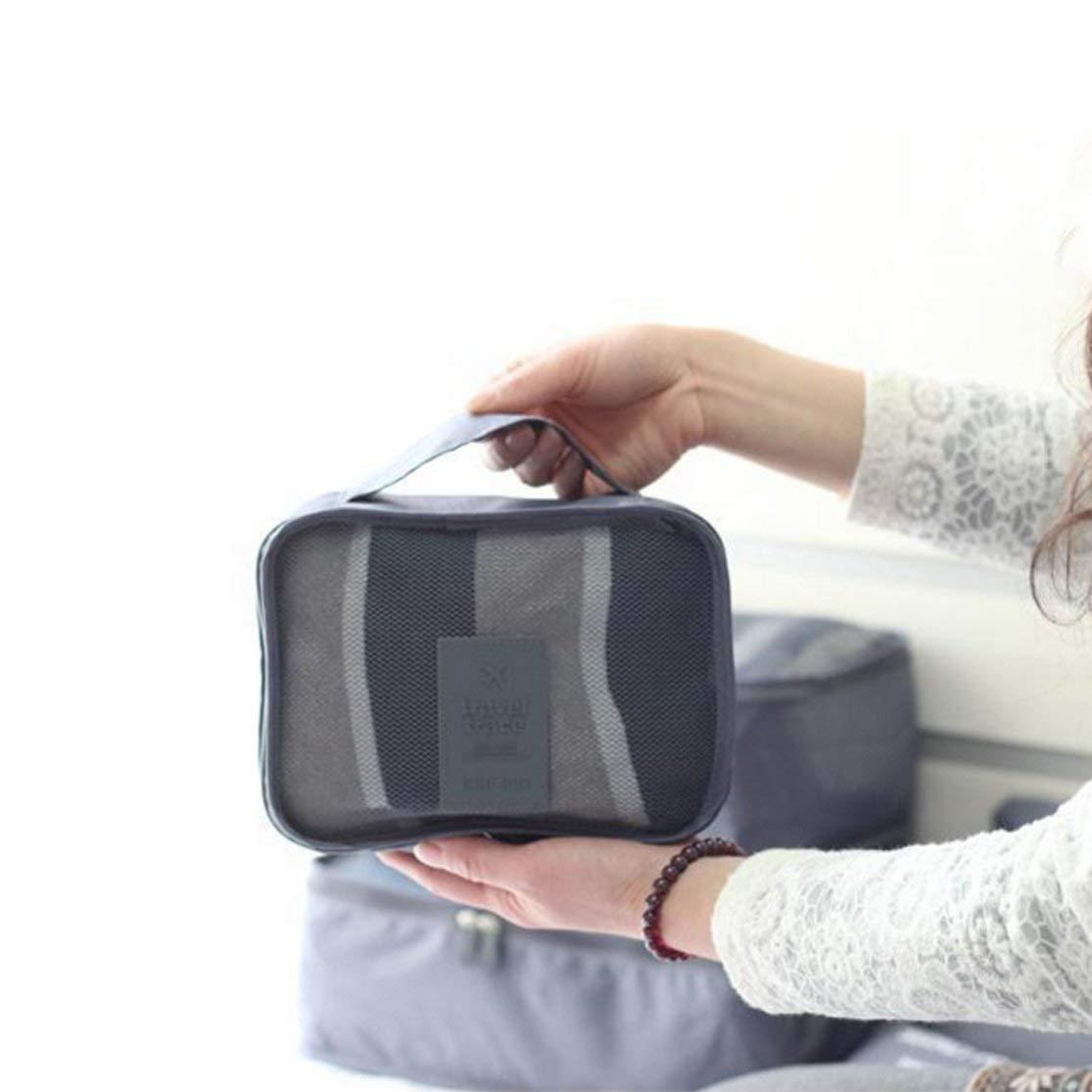 6PCS Set Bolsa de Almacenamiento de Viaje Equipaje Maleta Bolsa para Sujetador Cosm/éticos Ropa Interior Ropa Divisor Contenedor Organizador ordenado Color: Gris