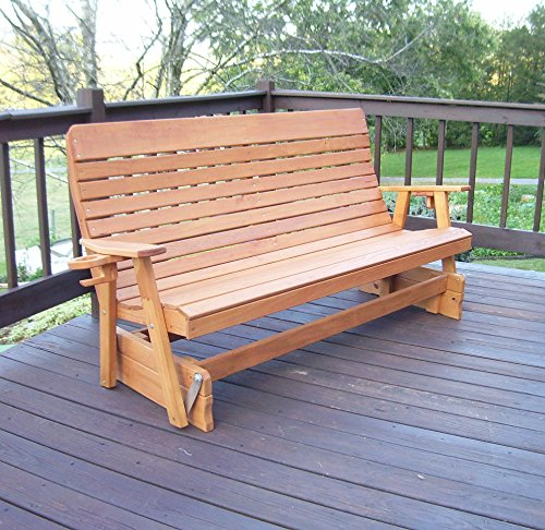 Aspen Tree Interiors 6' PORCH GLIDER Outdoor Patio Bench, 2 Person Wooden Loveseat Patio Benches Made With Long Lasting Treated Wood, Amish Made Quality (6ft, Cedar Stain with Cup Holders)