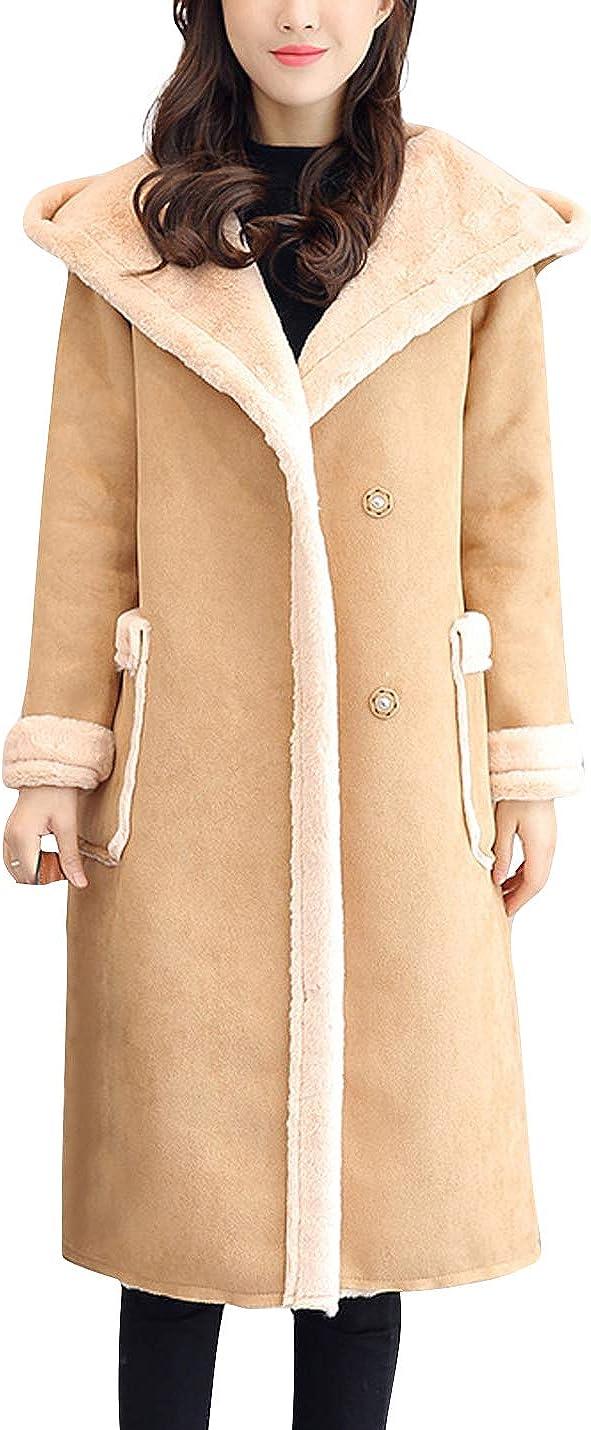 Firehood Womens Winter Ultra Warm Faux Shearling Suede Sherpa Lined Long Jacket Coat Parka Outwear