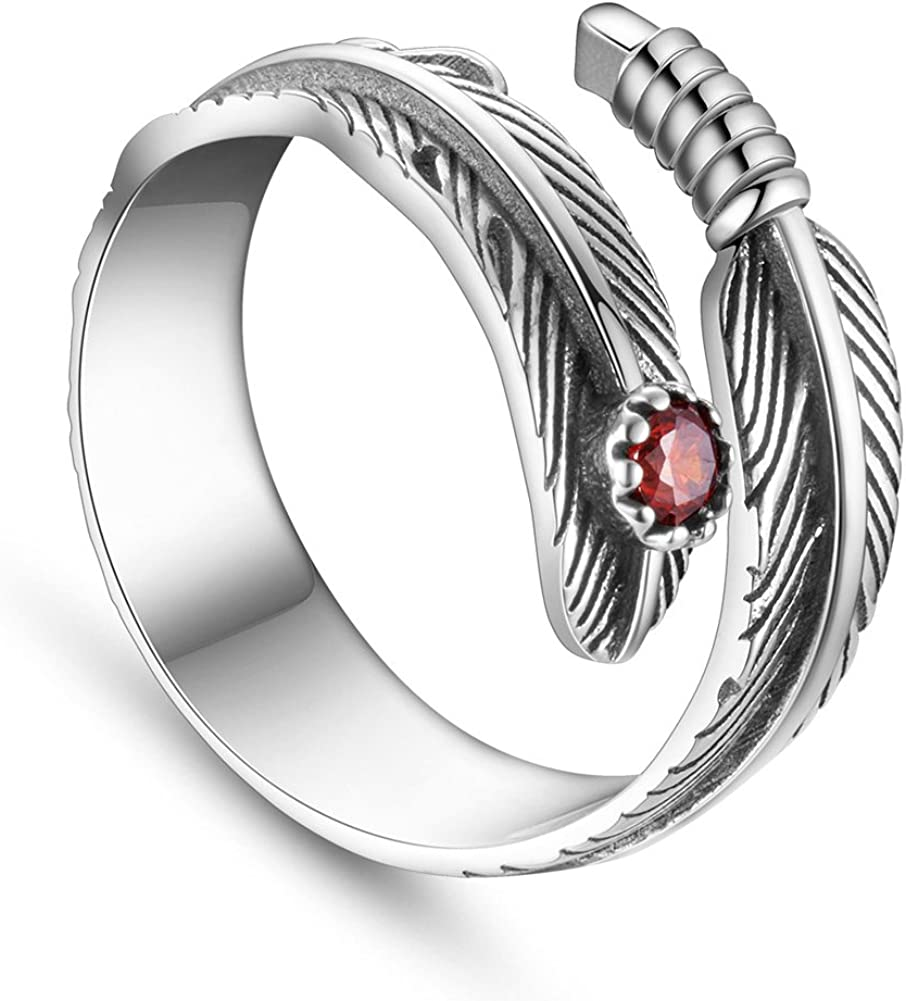 Red Zircon SHEGRACE Antique Feather Ring 925 Sterling Silver Adjustable Ring for Girls 18mm