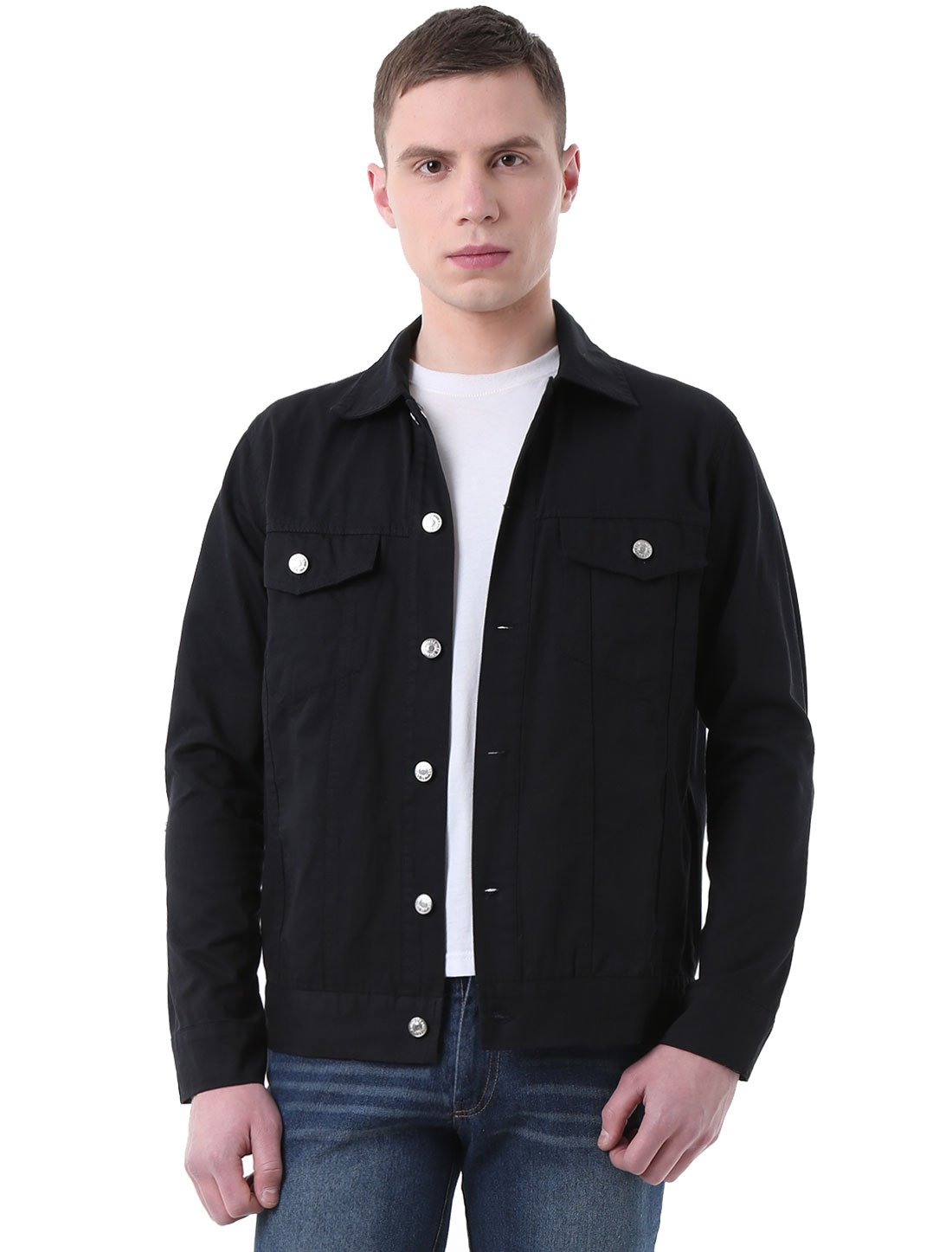 Allegra K Men Long Sleeves Single Breasted Front Casual Denim Jackets Black L by uxcell