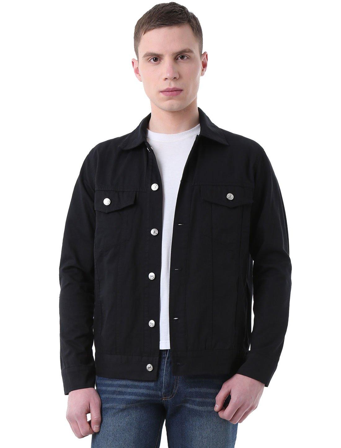 Allegra K Men Flap Chest Pockets Single Breasted Long Sleeve Jean Jacket M Black