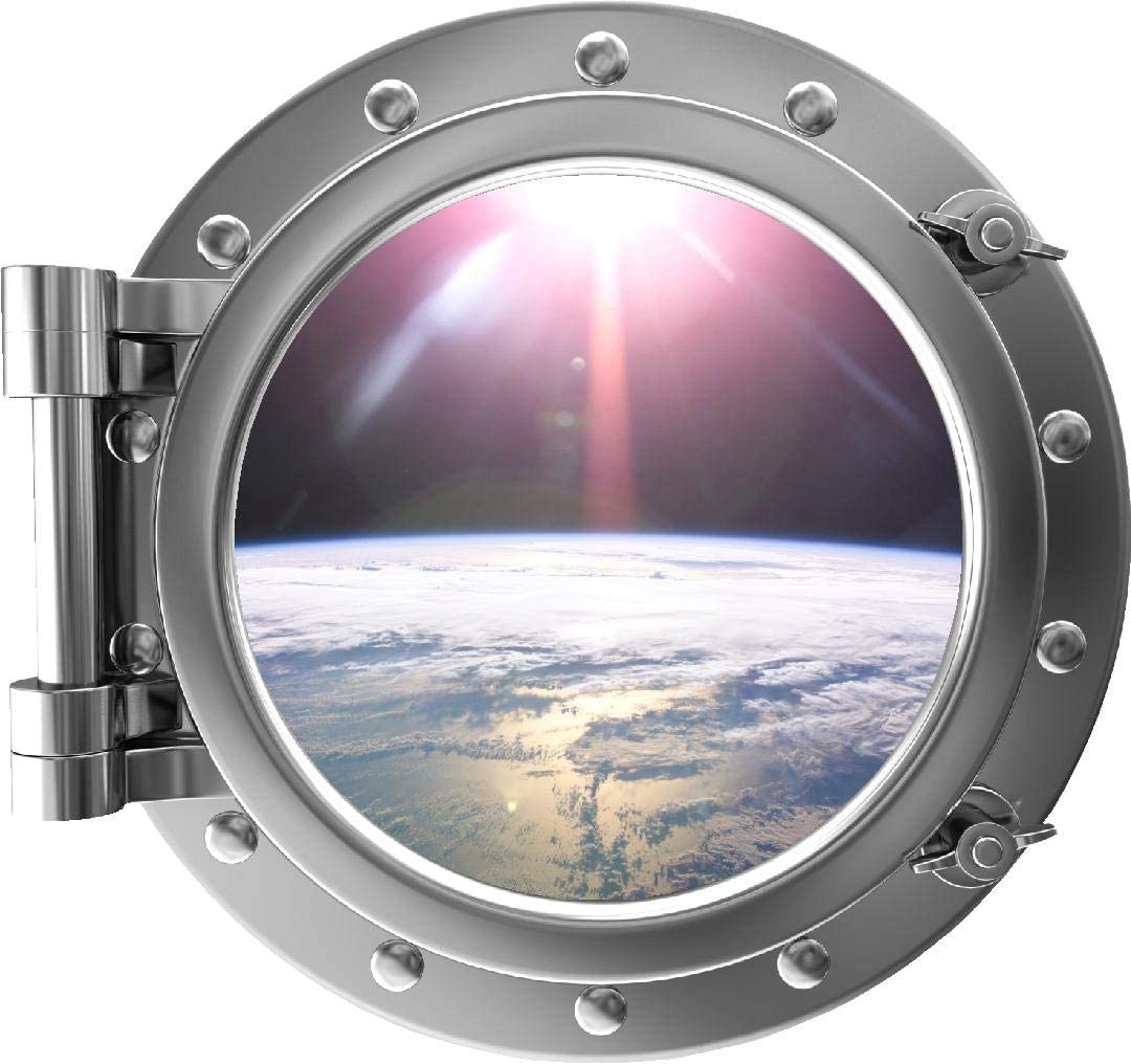 "12"" Portscape Silver Porthole 3D Window Orbiting Earth #1 Wall Decal Removable Wall Sticker Outer Space Instant Earth View Wall Kunst Boys Kids Zimmer Decor"