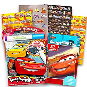 Disney Cars Coloring and Activity Set Kids Toddlers -- Pixar Cars Mess Free Coloring Book with Magic Pen and Over 500 Stickers