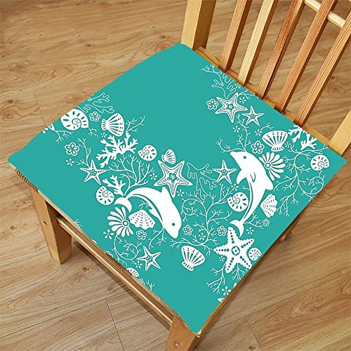 Nalahome Set of 2 Waterproof Cozy Seat Protector Cushion Teal Sea Animals Decor Dolphins and Flowers Sea Floral Pattern Starfish Coral Seashell Wallpaper Pattern Art Teal Whit Printing Size - Sunglasses Machine Printing