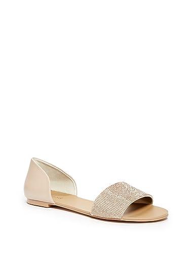 ed019f6de GUESS Factory Women s Lace Rhinestone Flat Sandals  Amazon.co.uk ...
