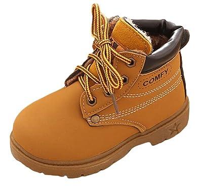d70cb9800c8fb Y-BOA Chaussure Martin Botte Enfant Fourrée Bottine Lacet SKI Hiver Chaud  Anti-Slide Boots Neige Garçon  Amazon.fr  Chaussures et Sacs