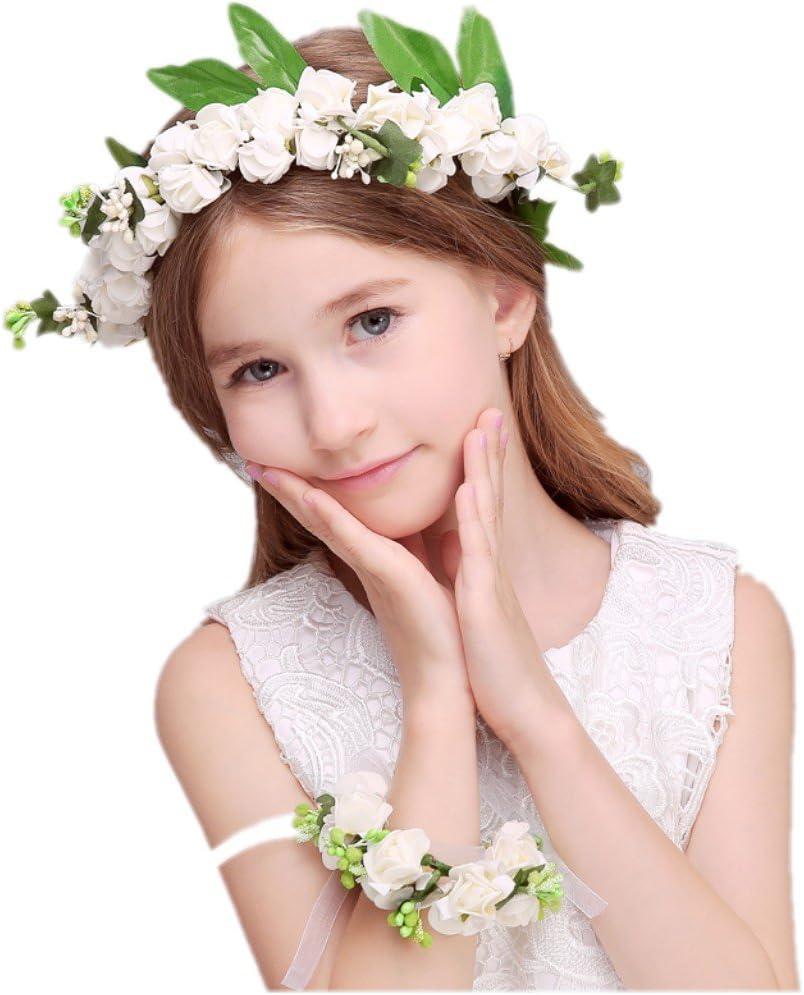 JZK Blanco corona flores diadema tiara guirnalda flores pelo cabeza con pulsera de flores para boda novia flores chica prom cumpleaño fiesta viaje fotografía