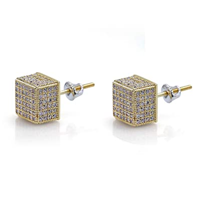 7b969871a Hip Hop Iced Out XL Large Square Curved Screen Block Screw Back Stud Earring  For Men