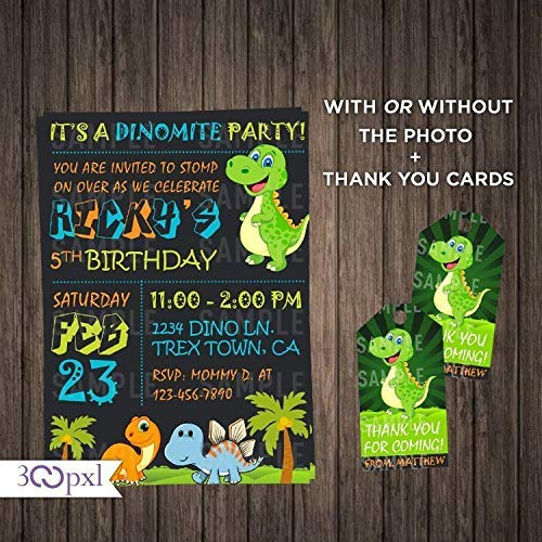 Dinosaur Birthday Invitation Boy T Rex Invite Party With Photo