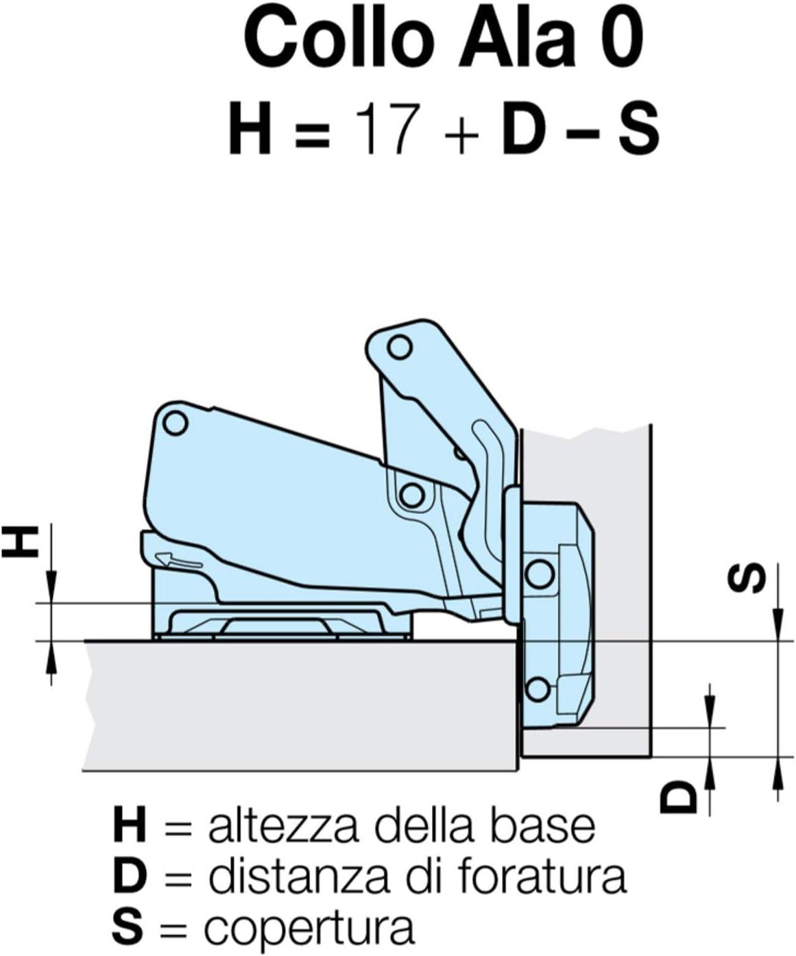 apertura de 170 grados, placa de 3 mm Bisagra para armario Ferrari
