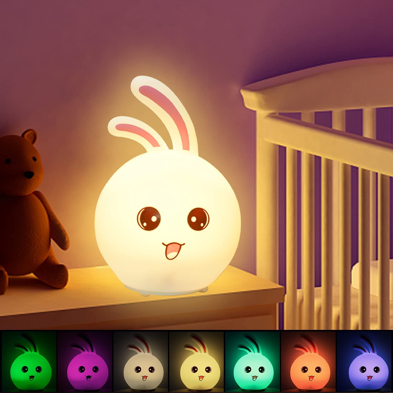 Luz Nocturna Infantil, CNSUNWAY LIGHTING Luz Nocturna Bebé Recargabl,7 Color Cambiante, Control Táctil, Portátil Silicona Suave Luz Nocturna Infantil Lámpara