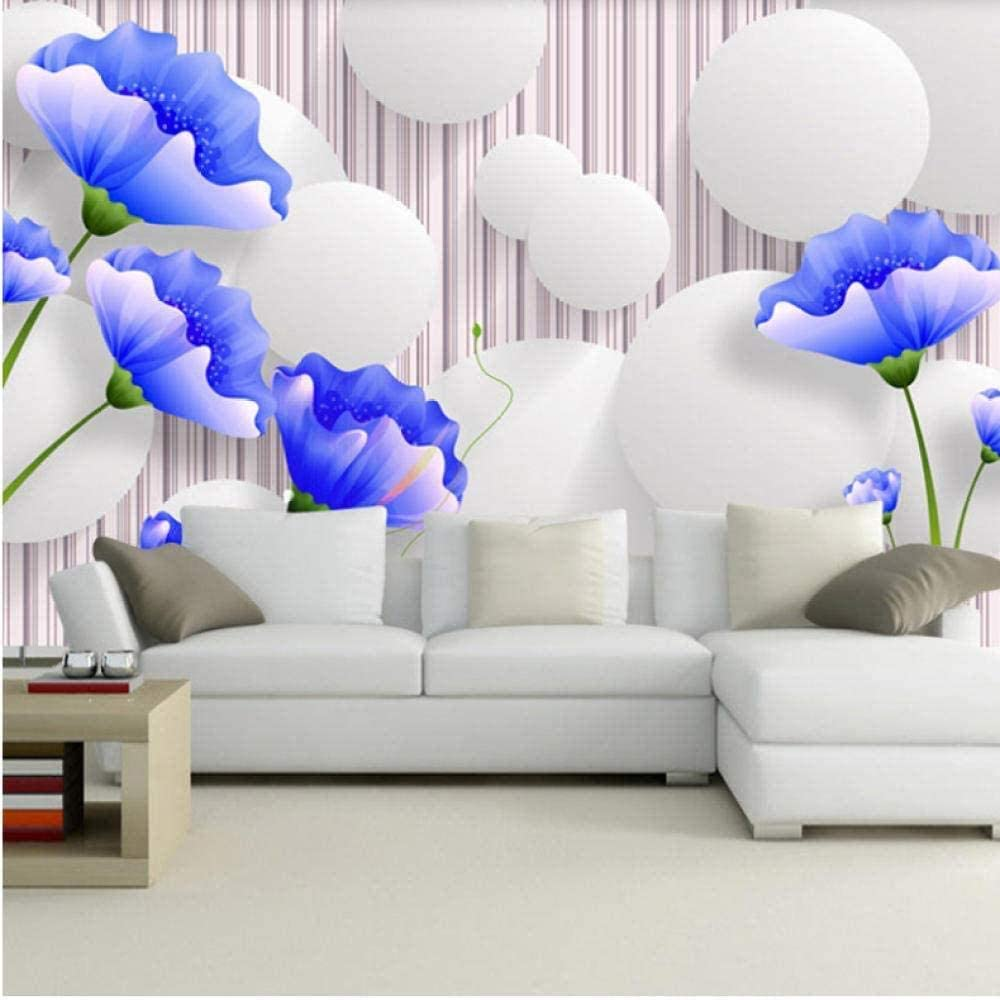 Papel Pintado Pared Dormitorio Fotomurales Decorativos Pared Tapiz De Pared 3D Flor Azul Moderna Simple Tv Fondo Pared Pared Papel Pintado Cuadros Habitacion Bebe Posters Mural