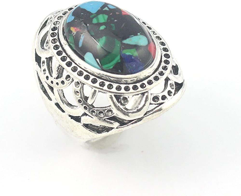 HIGH FINISH RAINBOW CALSILICA FASHION JEWELRY .925 SILVER PLATED RING 8 S23264