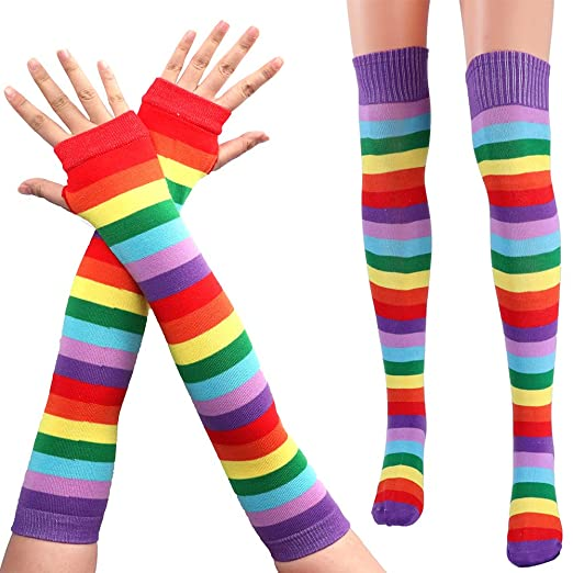 757f3d11b82 Image Unavailable. Image not available for. Color  Fani Rainbow Stripe Knit  Stocking for Women Fingerless Arm Warmers Gloves ...