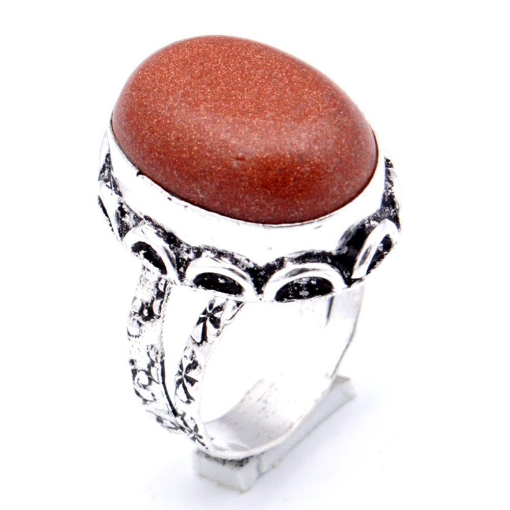 Brown Sunstone Sterling Silver Overlay Ring Size 8 US Handmade Jewelry Delicate