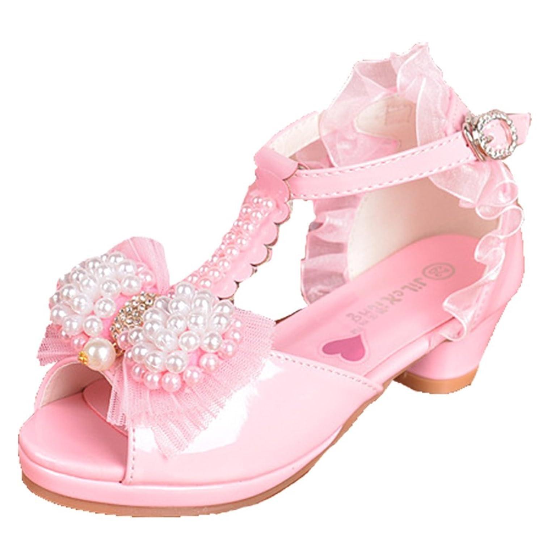cd634e218604d OPSUN Sandales à bride Enfants Filles Chaussure Cérémonie Ballerines à bout  ouvert Mariage Escarpin ...