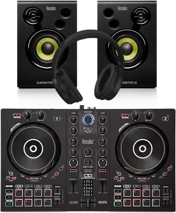 Monitor Bundle DJ Disco Inc Cuffie Hercules Inpulse 300 Controller