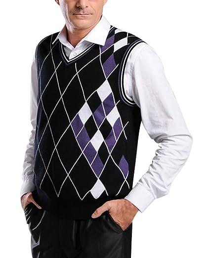 b23a60fbcb03b Lyamazing Mens Argyle V-Neck Golf Sweater Vest at Amazon Men s ...