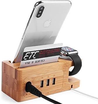 AICase Cargador de Madera de bambú estación de Carga USB, Soporte ...