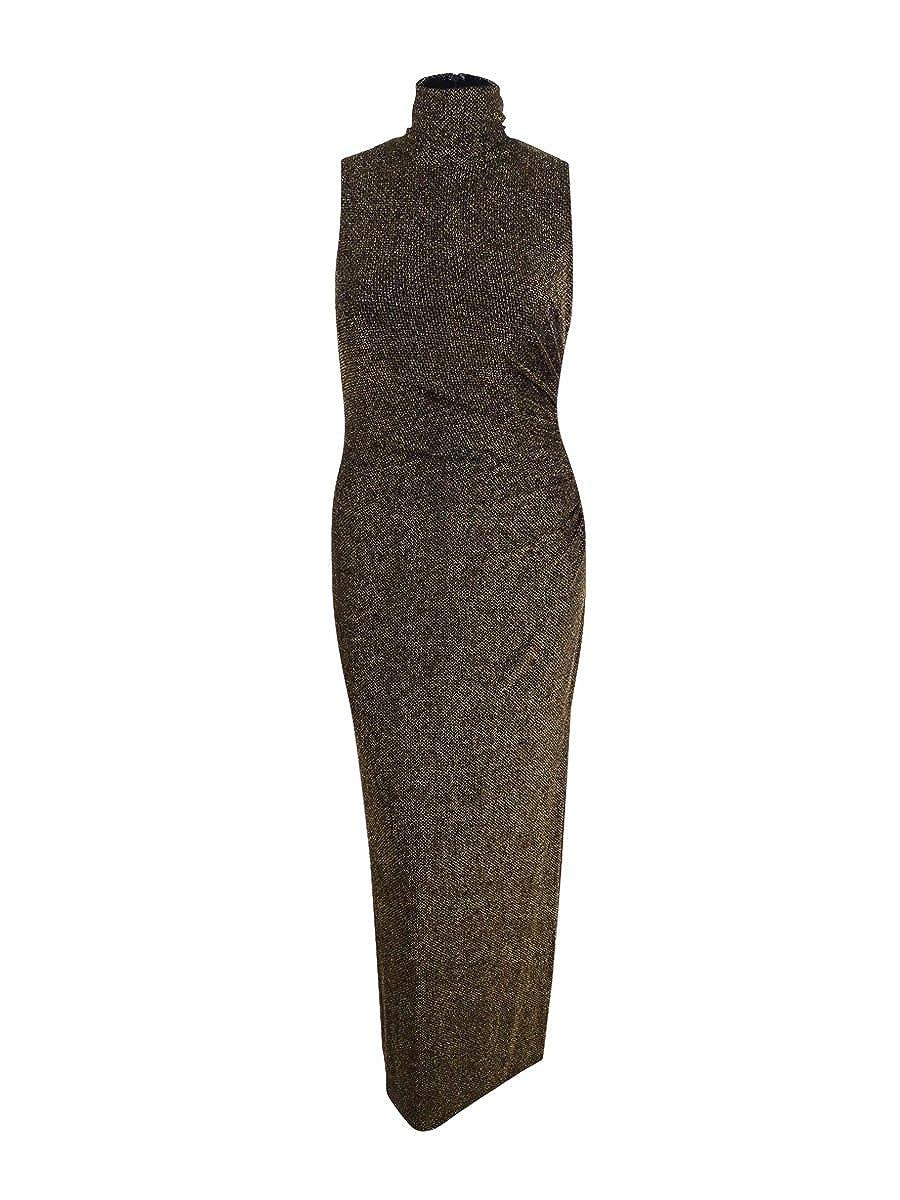Black   gold Lauren Ralph Lauren Womens Esbenia Metallic Gathered Evening Dress