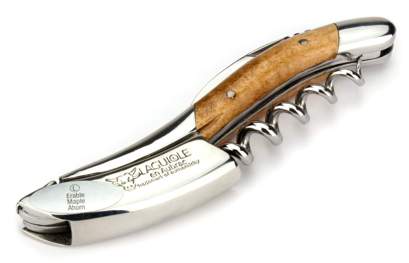 Laguiole en Aubrac corkscrew sommelier waiters knife - handles flamed maple - 3 functions - stainless steel shiny