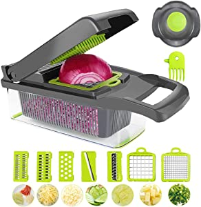 Vegetable Chopper, Veggie Cutter Mandoline Slicer for Salad, Cheese & Onion Chopper Dicer with Colander Basket and Container