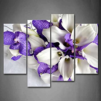 Amazon.com: Bunch Of Flowers In White And Dark Purple Wall Art Painting  Pictures Print On Canvas Flower The Picture For Home Modern Decoration:  Posters U0026 ...
