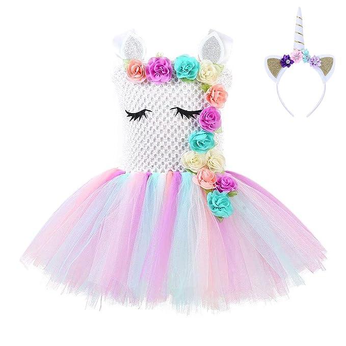 68d1988ba FONLAM Vestido de Bautizo Fiesta Niña Bebé Disfraz de Unicornio Princesa  Tutú Vestido Infantil Flores Carnaval Niña  Amazon.es  Ropa y accesorios
