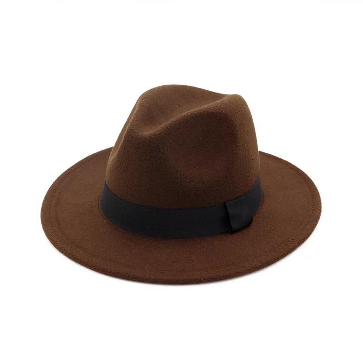 Lanzom Women Wide Brim Straw Wool Fedora Hat Retro Style Belt Panama Hat (Coffee, One Size)