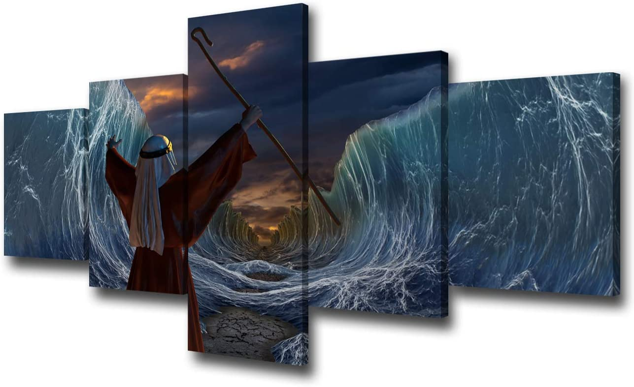Rustic Picture for Living Room Moses Exodus Route Canvas Wall Art Part of Biblical Narrative Artwork Red Sea Poster Home Decor 5 Piece Giclee Framed Ready to Hang Posters and Prints(50''Wx24''H)