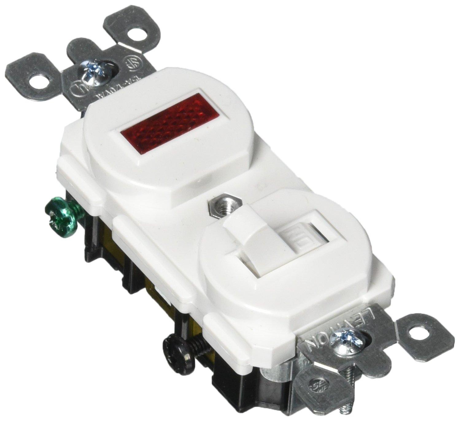 leviton 5226 w 15 amp, 120 volt, duplex style single pole, neon pilot ac combination switch, commercial grade, white switch with light 5226 combination switch