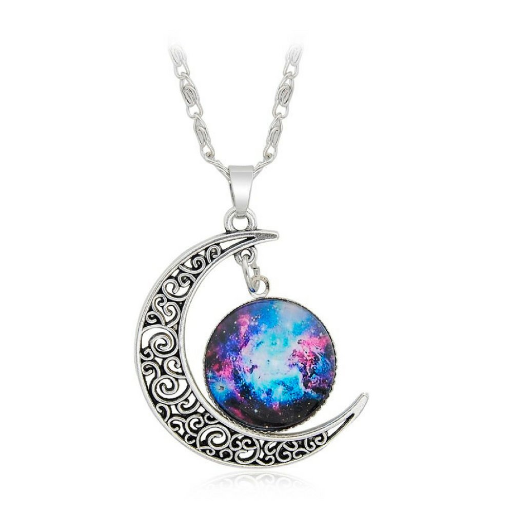 Luvalti Galaxy & Crescent Cosmic Purple Moon Pendant Necklace, Blue Glass, 17.5'' Chain, Great Gift for Women