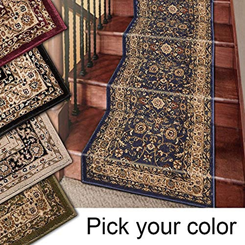 Marash Luxury Collection 25' Stair Runner Rugs Stair Carpet Runner with 336,000 Points of Fabric Per Square Meter, Navy (Best Carpet Runners For Stairs)