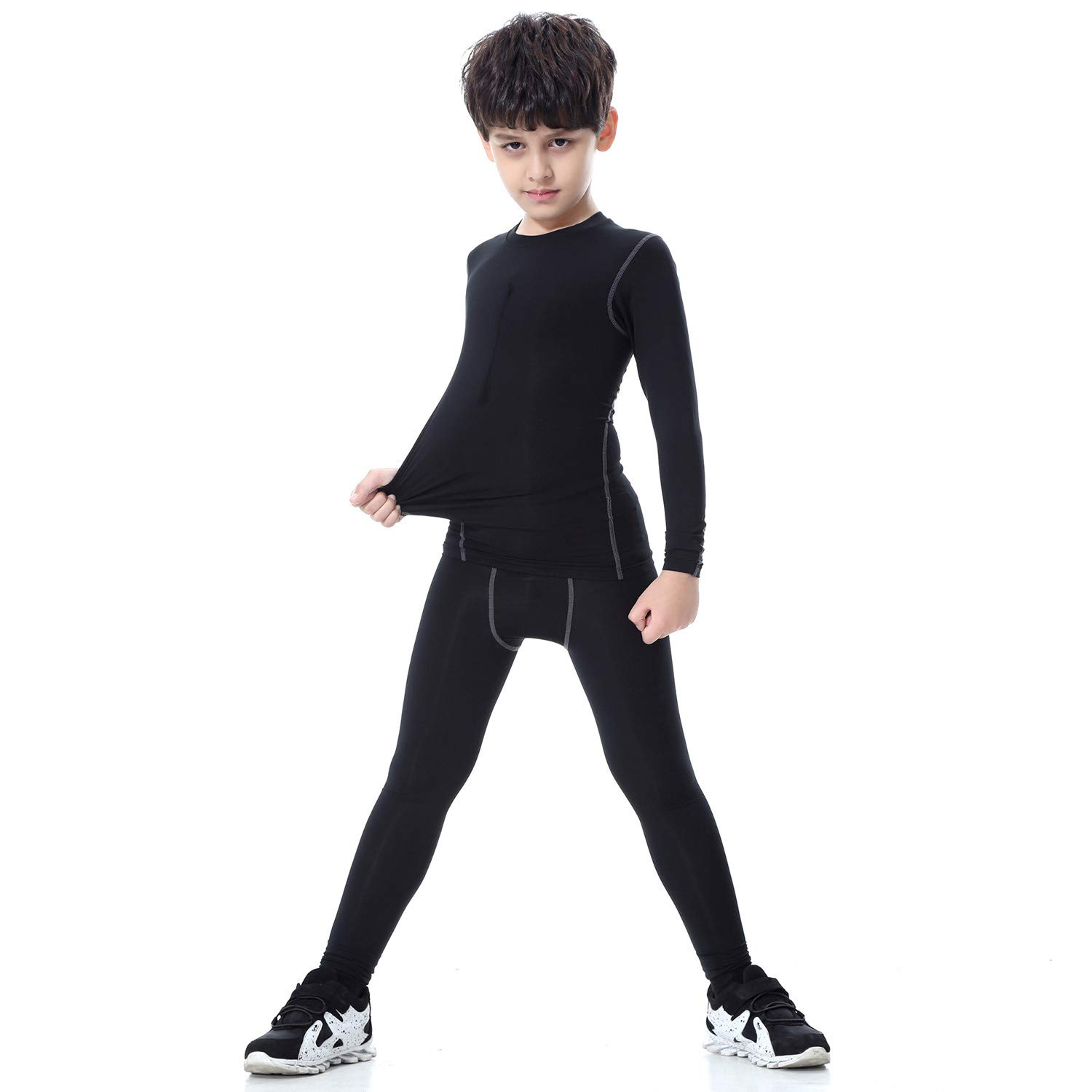 Witkey Boys Thermal Underwear Set, 1/2 Pcs Athletic Compression Shirts Base Layer Long Johns for Boys by Witkey