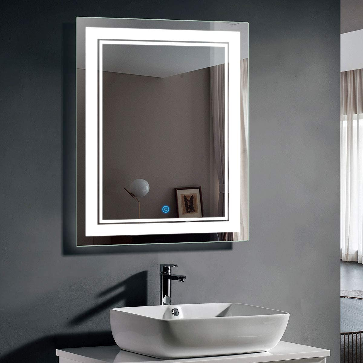 Vertical LED Lighted Vanity Bathroom Silvered Mirror with Touch Button