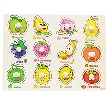 2f69a8a32475 BOBORA Puzzles Infantiles de Madera Juegos Juguetes Educativos de Aprendizaje  Juguete Rompecabezas de Madera para Niños Pequeños de 1 Año (Frutas): ...